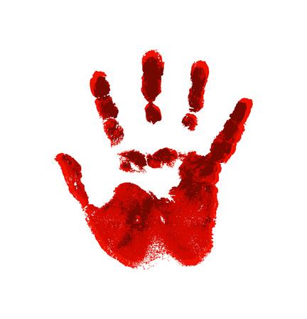 Mano en la sangre roja. Huella sangrienta sobre fondo blanco.
