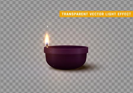 Decorative burning candles isolated realistic. Decor for Diwali celebration.
