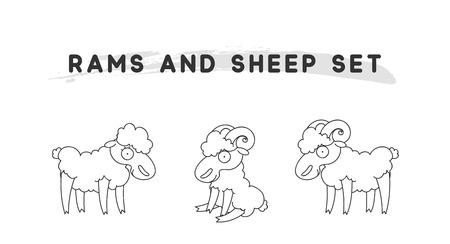 Rams amd sheep set linear style. Character animal Vector Illustration