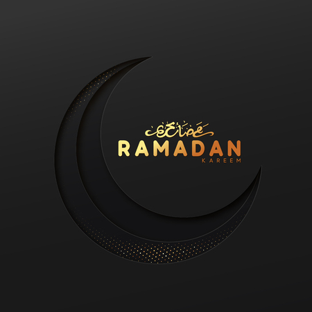 Ramadan vector background. Effect of the cut paper with the embossed Arabic calligraphic text of Ramadan Kareem. Creative design greeting card, banner, poster. Traditional Islamic holy holiday Vectores