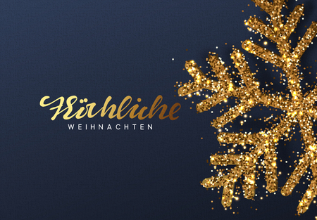 Christmas background with Shining gold Snowflakes. German text Frohliche Weihnachten. Lettering Merry Christmas card vector Illustration.