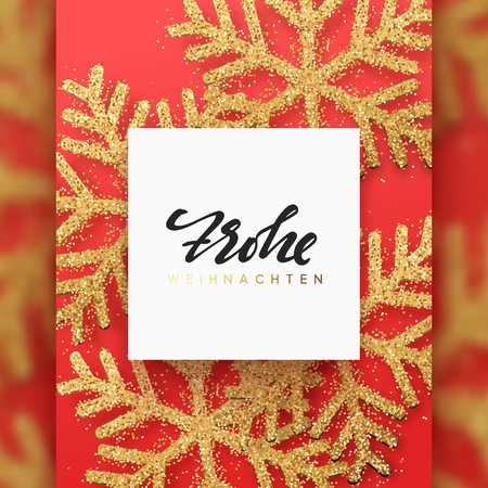 German text Frohliche Weihnachten. Christmas background with Shining gold Snowflakes. Lettering Merry Christmas greeting card vector Illustration.