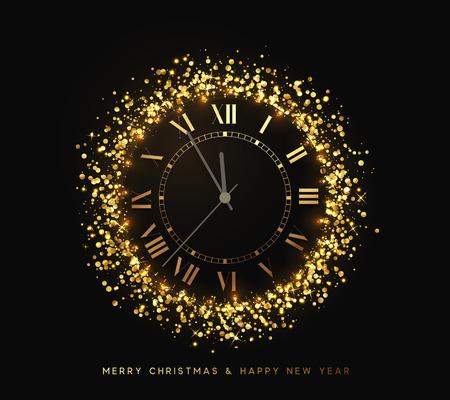 Glänzende goldene Neujahrsuhr, fünf Minuten vor Mitternacht. Frohe Weihnachten. Weihnachtsfeiertag. Glühender Hintergrund mit hellen Lichtern und goldenem Schein. Design-Vektor-Illustration Standard-Bild