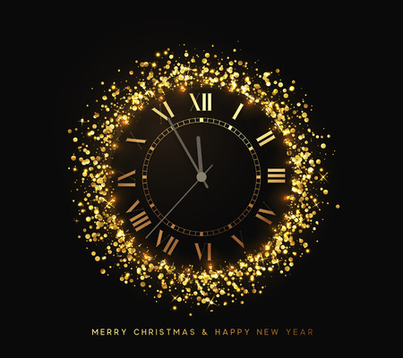 Montre en or brillant du Nouvel An, cinq minutes avant minuit. Joyeux Noël. Vacances de Noël. Fond lumineux avec des lumières vives et des étincelles dorées. Illustration vectorielle de conception Banque d'images