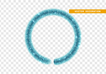 Christmas traditional decorations, blue lush tinsel. Xmas circle wreath garland, isolated realistic decor element  イラスト・ベクター素材