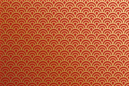 Chinese traditional oriental ornament background, red golden clouds pattern seamless Vektoros illusztráció