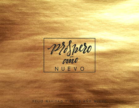 Gold Christmas card, design with golden texture paint brush. Xmas greeting card vector illustration. Spanish text Prospero ano Nuevo