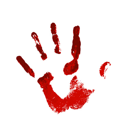 Hand in the red blood. Bloody handprint on white background Ilustração