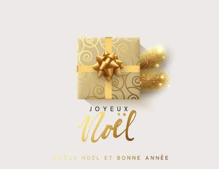 French text Joyeux Noel. Vector illustration letttering Merry Christmas, gift box closed wrapped ribbon with bow. Xmas greeting card, banner, poster. Illustration