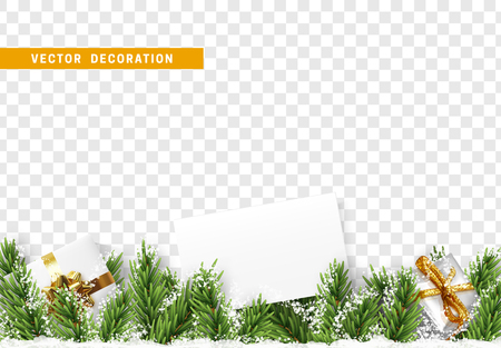 Christmas decorations. Xmas festive border with pine tree branches with realistic gifts boxs and white snow. Holiday vector isolated on transparent background. Paper frame for text