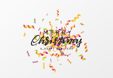 Feliz Navidad texto de caligrafía. Fondo con textura de color serpentina. Ilustración de vector