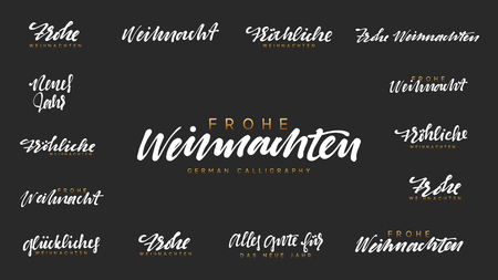 German lettering Frohe Weihnachten, Frohliche Weihnachten. Merry Christmas and Happy New Year, white text calligraphy Illustration