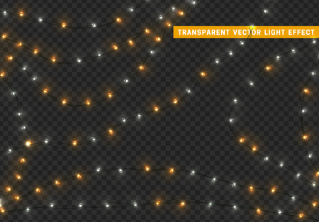 Christmas lights, isolated realistic design elements on transparent background. Xmas decorations glow light garlands white and golden color.