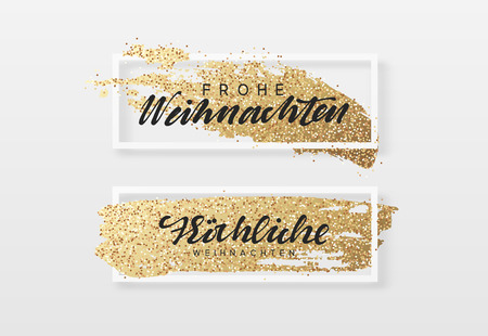Frohe Weihnachten. Christmas background, design a smear of gold brush in frame. Xmas greeting card.
