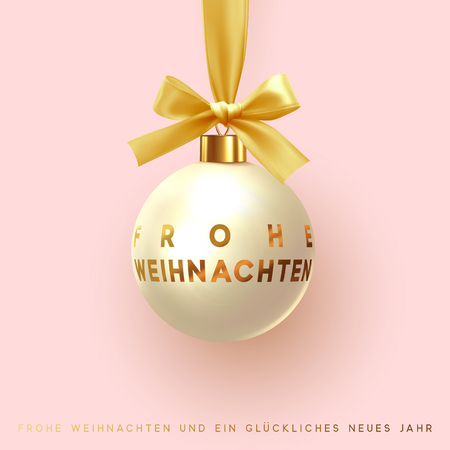 German text Frohe Weihnachten, Merry Christmas and Happy New Year. Xmas decoration beige ball hanging on golden ribbon with bow. Festive background. Greeting card, banner, web poster.