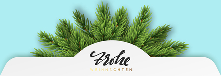 German text Frohe Weihnachten. Christmas banner design with green realistic pine branches