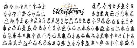 Kerstbomen. Schets een Doodle-dennenboom. Illustratie hand getekende kunst. Vector Illustratie