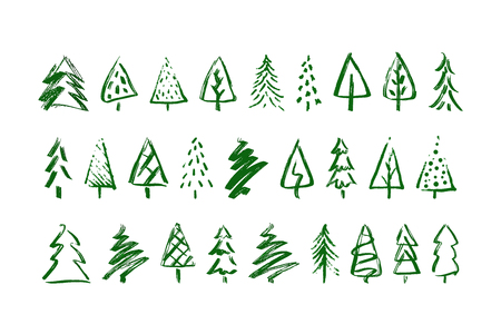 Christmas trees. Sketch a Doodle pine tree. Illustration hand drawn art.