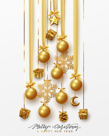 Merry Christmas and Happy New Year. Golden christmas balls hanging design on the ribbon, gold gift and bright snowflakes in the shape of pine tree.