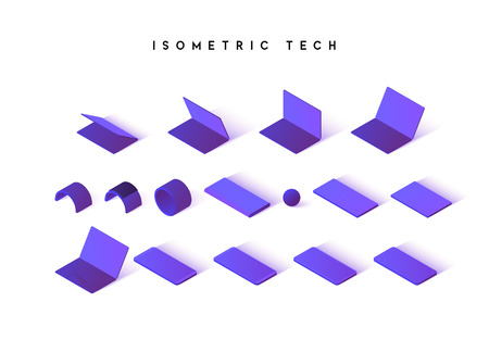 Isometric technique isolated on white background. Flat computer, tablet, phone. Modern bracelet and portable battery charge.