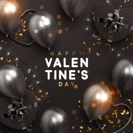 Valentines Day banner. Background design of sparkling lights garland, realistic gifts box with heart shaped, black balloon and glitter gold confetti. Holiday poster, greeting cards, headers, website Illusztráció