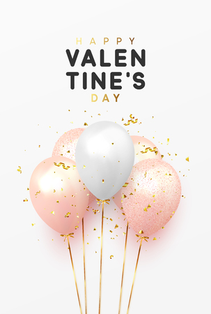 Happy Valentines Day background with realistic balloons and glitter gold confetti Illustration