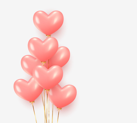 Balloons group realistic in shape pink heart with gold ribbon. 3d ballon isolated on white background