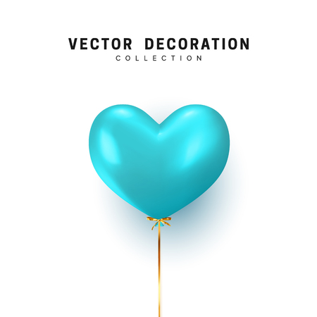 Balloon heart shape isolated on white background. Holiday element design realistic baloon with gold ribbon and bow Vectores