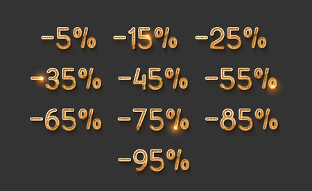 Discounts gold numbers. Elements design sale golden sign. Percentage 5%, 15, 25, 35, 45, 55, 65, 75, 85, 95