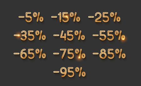 Discounts gold numbers. Elements design sale golden sign. Percentage 5%, 15, 25, 35, 45, 55, 65, 75, 85, 95