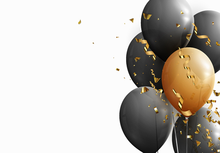 Black and yellow balloons, falling golden confetti and serpentine.