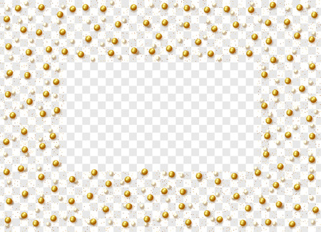 Gold round beads and pearls isolated on a transparent background