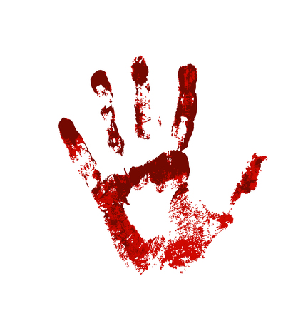 Hand in the red blood. Bloody handprint on white background Vector Illustratie