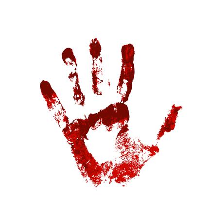 Mano en la sangre roja. Huella sangrienta sobre fondo blanco. Ilustración de vector