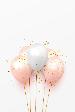 Background with festive realistic balloons with ribbon. Celebration design with baloon, color pink and white, studded with gold sparkles and glitter confetti. Celebrate birthday template Illustration