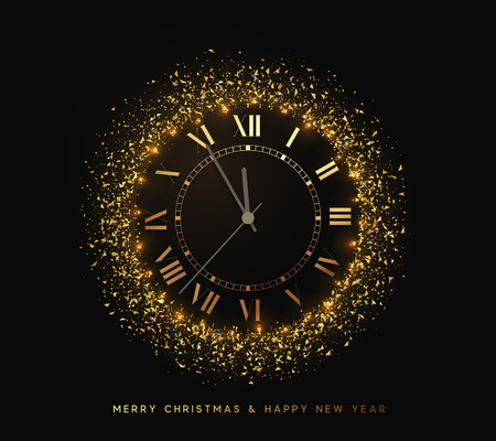 New Year shiny gold watch, five minutes to midnight. Merry Christmas. Xmas holiday. Glowing background with bright lights and golden sparkles Illustration