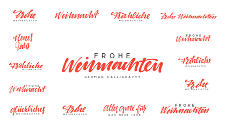 German lettering Frohe Weihnachten, Frohliche Weihnachten. Merry Christmas and Happy New Year, golden red calligraphy