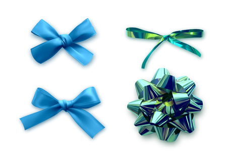 Set ribbon bows. Bow isolated realistic decorations of satin material and fabric. ?ollection of decor objects on white background Illustration