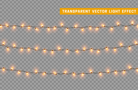 Garlands color golden isolated vector, Christmas decorations lights effects. Glowing lights for Xmas Holiday.