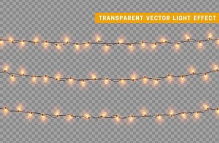 Guirlandes couleur vecteur isolé doré, effets de lumières de décorations de Noël. Lumières rougeoyantes pour les vacances de Noël.