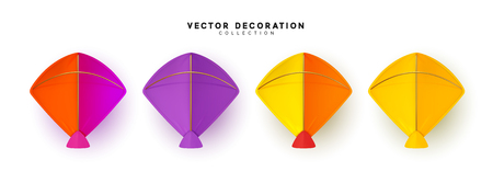 Set of vector kite realistic isolated on white background