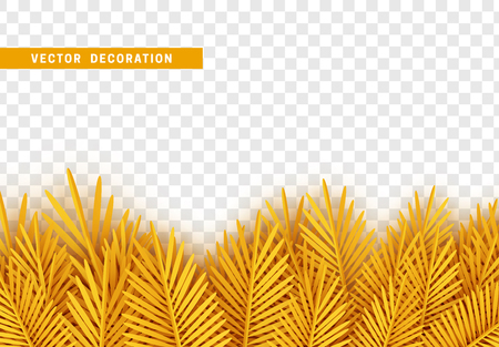 Yellow leaves art paper flat, with transparent background. Vector Illustration