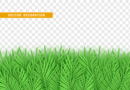 Green leaves art paper flat, with transparent background. Vector Illustration