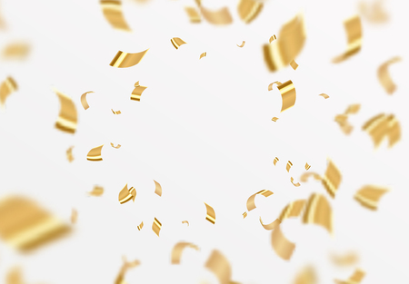 Falling shiny golden confetti isolated on white background. Bright festive tinsel of gold color.