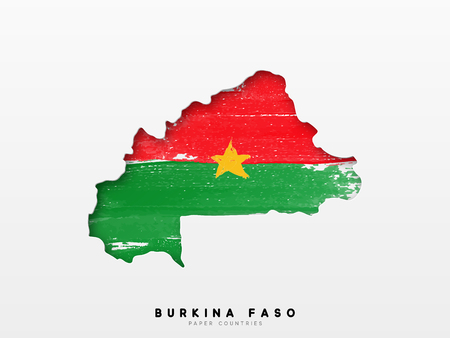 Burkina faso detailed map with flag of country. Painted in watercolor paint colors in the national flag. 일러스트