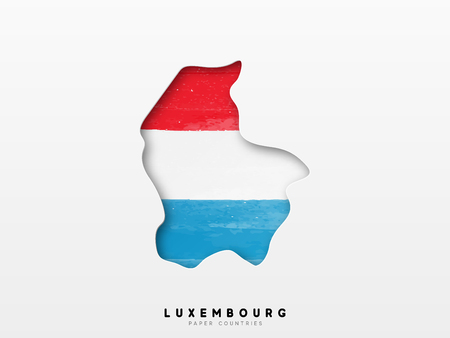 Luxembourg detailed map with flag of country. Painted in watercolor paint colors in the national flag. Vectores
