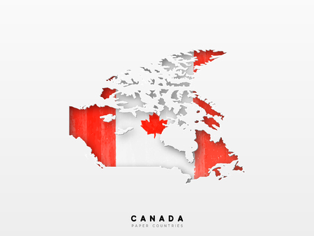 Kanada detaillierte Karte mit Flagge des Landes. Gemalt in Aquarellfarben in der Nationalflagge.