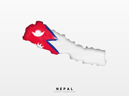 Nepal detailed map with flag of country. Painted in watercolor paint colors in the national flag.