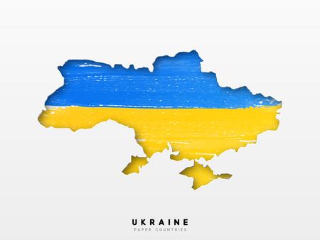 Ucrania mapa detallado con la bandera del país. Pintado en colores de pintura de acuarela en la bandera nacional.