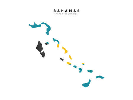 Bahamas detailed map with flag of country. Painted in watercolor paint colors in the national flag.